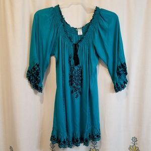 Teal embroidered peasant blouse dress mini